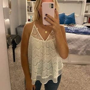 Off White Lace Tank with Keyhole